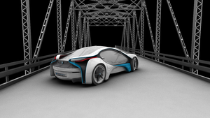 Conceptual Car in 3D back view by Eowynu
