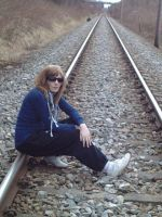 Sitting on the railroad - DeviantId by manganime93
