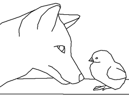 The Fox and chick - line art by Harry-Potter-Addict