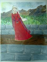 Girl on a Castle Wall COLORED by bornahorse