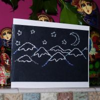embroidered Christmas card by Blue-eyed-Kelpie