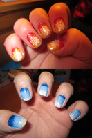Nail Art - Fire and Water by Sakura-Courage-Solo