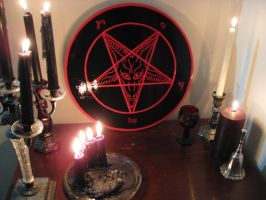 Sigil of Baphomet Plaque (Red on Black) by SigilofSulfer