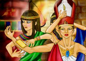 The Pharaoh and her ladies by PurpleGatto