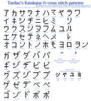 Katakana cross stitch pattern by taeliac
