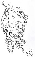 Flowerskull Outline by vikingtattoo