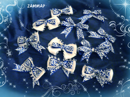 Royal Blue Flower Bows by zammap