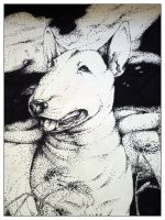 Bull Terrier Pointilism by Keroberous