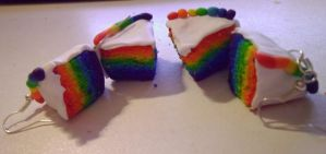 Rainbow Cake Slices by delicioustrifle