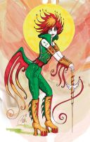 Rooster Warrior Woman by remdesigns