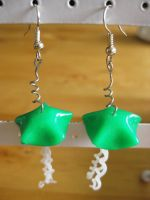 Green Jellyfish Earrings by Sigilien