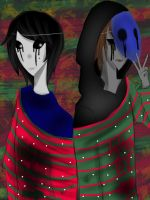 Nicole X Eyeless Jake: Christmas Sweaters :3 by oXHersheyKissesXo