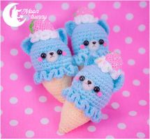 Crochet ice-cream cats Brooch, Charm and Hairclip by CuteMoonbunny