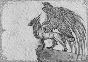 Griffin on a Rock by MissViscid