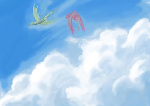 Sky and dragons by zbo3190