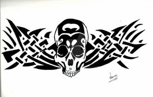 Tribal Skull by DarkCoeur