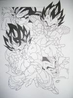 Dragonball Z - Lineart Goku VS Vegeta V1 by TriiGuN