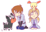 Plusle and Houndour and Trainers by Lebgar