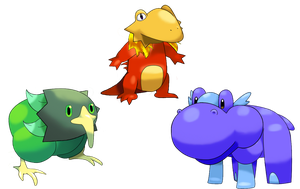 Fauxkemon starters by Shouty-Fool
