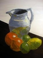 Pewter jug and fruit by zingmatter