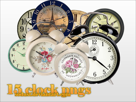 15 retro clock pngs by sodust