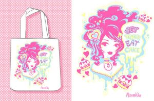 Cakey- Tote design final by Blush-Art