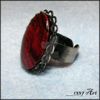 Red Paua Shell Ring by 1337-Art