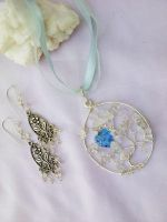 Silver tree pendant and earring by Mirtus63