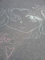 chalk drawing by mewnekochibi