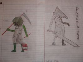 Creeper and Pyramid Head Pencil/Colored Pencil by ProbSMG