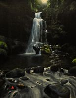 Hawaii Waterfall oil painting by dryand09