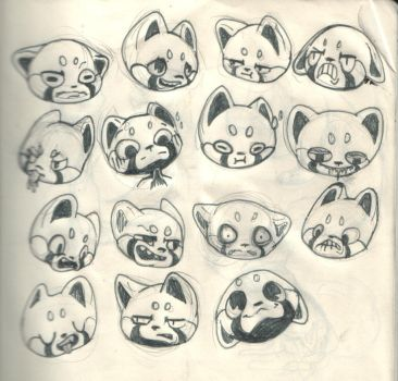 Red panda expressions by HawthornHare