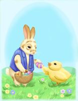 Easter bun and chicklet by nienor