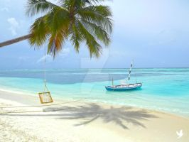 Paradise Maldives Tree Swing by dancpicturez