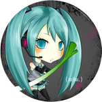 Miku Hatsune Button by pockypaint