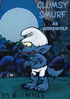 Clumsy Smurf as Werewolf. by wolfmarian