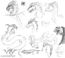 Dragon Concept-Sketch dump by E-Pendragon