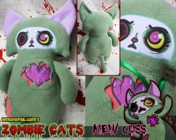 Mew Cuss Zombie Cat Plushie by lemonbrat