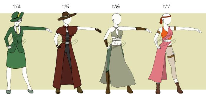 Adoptable: Clothing: 174-177 (Closed) by Biological-Solutions