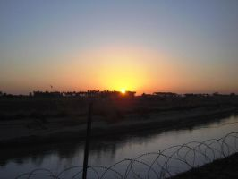 iraqi sunset off a canal by desert-hedgehog