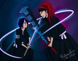 Rukia and Renji by Rilantro