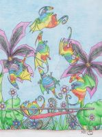 Rainbow dragons by Scellanis
