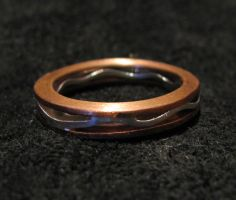 Sterling and Copper Wave Ring by Sothoth