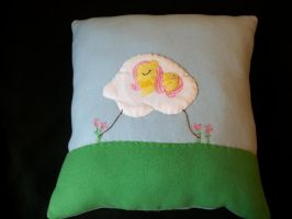 Napping Fluttershy Handmade Custom Plush Pillow by grandmoonma