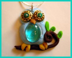 Baby Owl Necklace Detail by SupremeBeingDesigns
