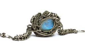 Wire Wrap and Chainmaille Bracelet with Moonstone by hyppiechic