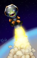 Jebediah Kerman Flies Off Into the Sun by alex-heberling