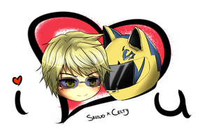 Comm-ChibiHead Shizuo x Celty by talespirit