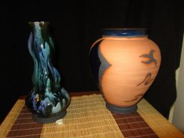 Low Fire Bottle and Vase by CoryTheDuck