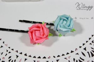 Origami Rose Hairpins by Wingg
